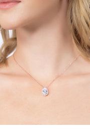 Haloed Pear Cubic Zirconia Pendant Necklace