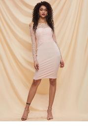 Missord Off Shoulder Lace Bodice Bodycon Dress