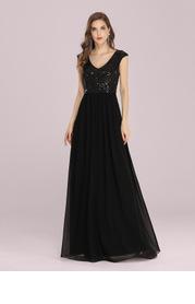 EVER-PRETTY V Neck Sequin Bodice Chiffon Prom Dress
