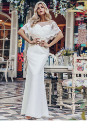 EVER-PRETTY Mermaid Dress With Embroidered Mesh Cape