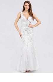 EVER-PRETTY Godet Fishtail Hem Sequin Mesh Dress