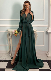 Missord Surplice Neck Belted Split Thigh Gold Feather Print Dress