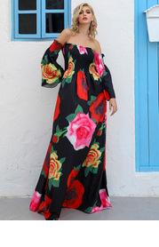 Missord Off Shoulder Shirred Bodice Floral Maxi Dress
