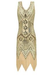 Blush Mark 1920s V Neck Gatsby Theme Roaring 20s Sequin Midi Dress