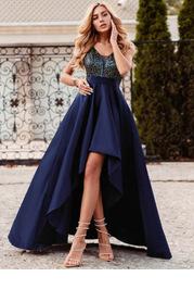 EVER-PRETTY Glitter Bodice High Low Satin Dress