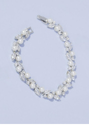 Pearl and Cubic Zirconia Crystal Leaf Bracelet