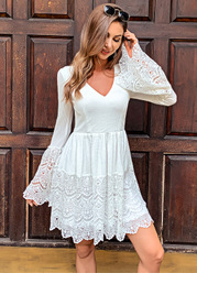 Missord Lace Up Knot Bell Sleeve Waffle Knit Lace Dress
