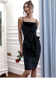 Missord Tie Waist Zip Back Velvet Cami Dress