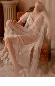White Bridal Ethereal Lace Robe And Lace Slip Set