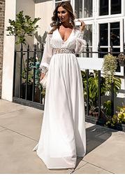 Missord Plunging Neck Guipure Lace Insert Chiffon Prom Dress