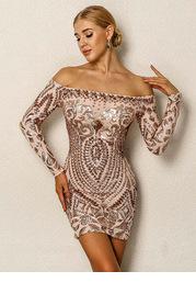Joyfunear Sequin Cluster Off Shoulder Bodycon Dress