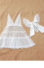 Mesh and Lace Lingerie Night Dress and Panties
