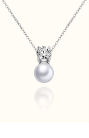 Natural Pearl and Rhinestone Necklace