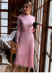 Missord Fringe Hem Rib-knit Sweater Dress