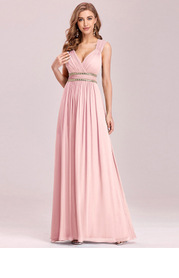 EVER-PRETTY Plus Rhinestone Waist Backless Chiffon Dress