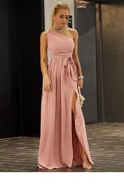 Joyfunear Twist Shoulder Belted Split Thigh Dress