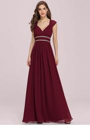 EVER-PRETTY Plus Rhinestone Waist Backless Chiffon Dress