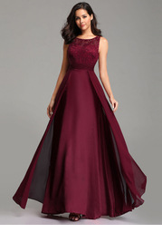 EVER-PRETTY Lace Bodice Ruched Waist Dress