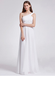 EVER-PRETTY Ruched Bodice One Shoulder Cape Prom Dress