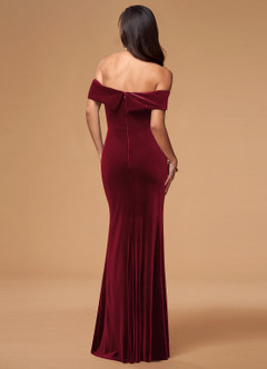 azazie-Blush Mark Sweet Thing Burgundy Velvet Maxi Dress