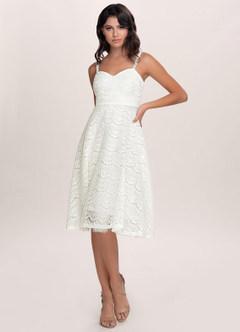azazie-Blush Mark Dreamy White Lace Midi Dress