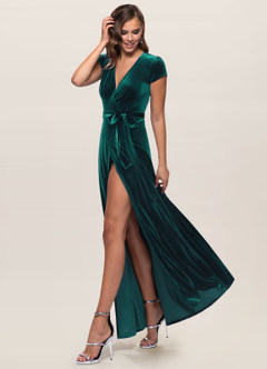 azazie-Blush Mark Dreaming Of You Dark Green Velvet Maxi Dress