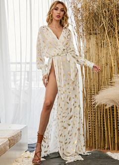 azazie-Missord Surplice Neck Belted Split Thigh Gold Feather Print Dress