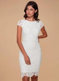 azazie-Blush Mark Heavenly Kiss White Lace Bodycon Dress