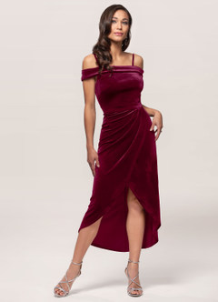 azazie-Blush Mark Sweet Desire Cabernet Velvet Midi Dress