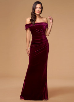 azazie-Blush Mark Sweet Thing Cabernet Velvet Maxi Dress