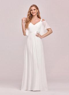 azazie-EVER-PRETTY Cold Shoulder Flutter Sleeve Maxi Formal Dress