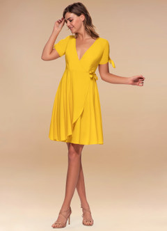 Coffee Break Ginger Yellow Wrap Dress