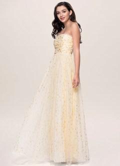 Luna Champagne Strapless Maxi Dress