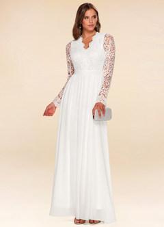 Marvelous White Long Sleeve Lace Maxi Dress