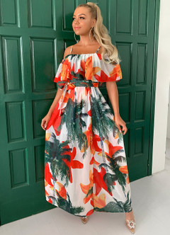 azazie-Joyfunear Cold Shoulder Belted Tropical & Floral Dress