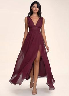 azazie-Blush Mark Dancing Queen Cabernet Maxi Dress