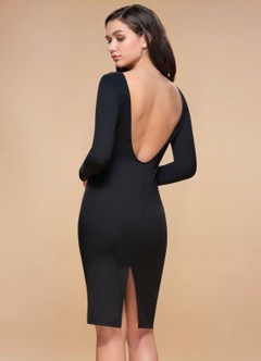 Magical Hour Black Backless Midi Dress