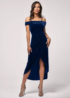 azazie-Blush Mark Sweet Desire Navy Blue Velvet Midi Dress