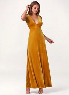 azazie-Blush Mark Party Time Marigold Velvet Maxi Dress