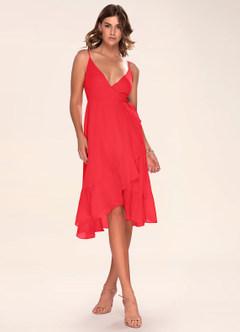Manhattan Moment Berry Pink Ruffled Midi Wrap Dress