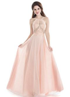Sapphire Pearl Pink Floor-Length Chiffon Halter A-Line