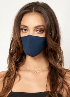 azazie-Non-medical Solid Color Cotton Reusable Face Mask Dark Navy