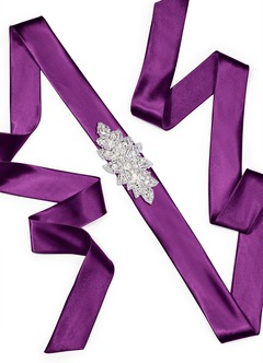 Charmeuse Sash with Floral Beading