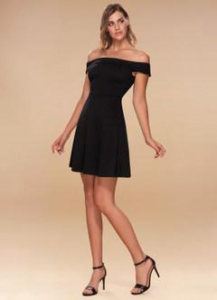 Perfect Match Black Skater Dress