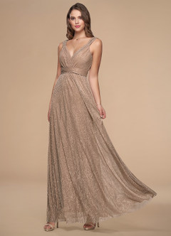 Rosie Metallic Silver Pink Maxi Dress