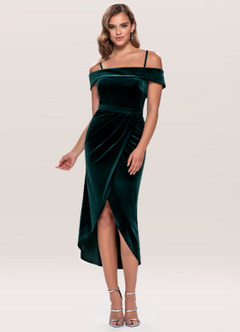 azazie-Blush Mark Sweet Desire Dark Green Velvet Midi Dress