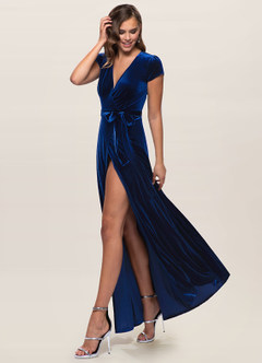 azazie-Blush Mark Dreaming Of You Navy Blue Velvet Maxi Dress
