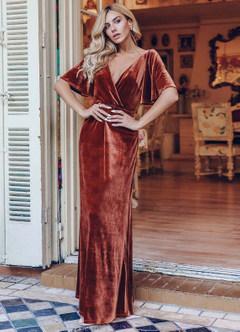 azazie-EVER-PRETTY Surplice Neck Flutter Sleeve Velvet Dress