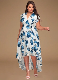 Swirl White Floral Print High Low Dress