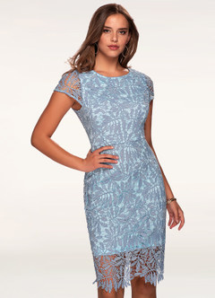 Heavenly Kiss Periwinkle Blue Lace Bodycon Dress